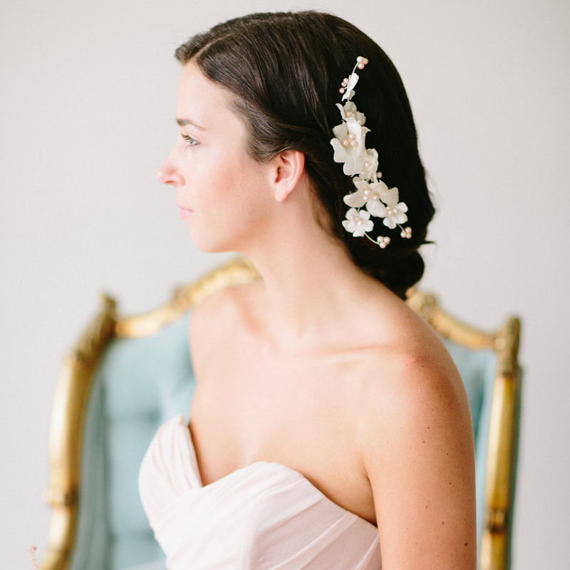 Brunette bride with floral headpiece